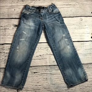 Mini Boden Adjustable Waist Distressed Jeans- 4/4T